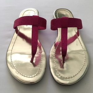 Sparkly Pink Thong Sandals by Bandolino